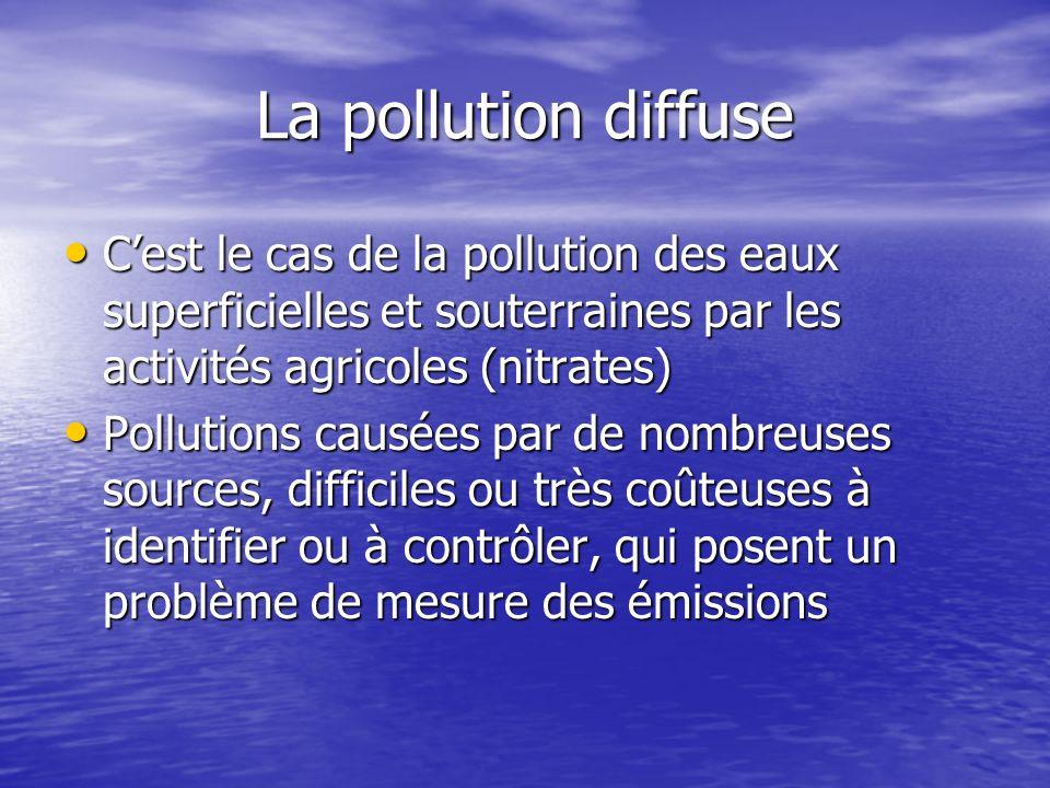 La pollution diffuse C'est le cas de la pollution des eaux superficielles et souterraines par les activités agricoles (nitrates)