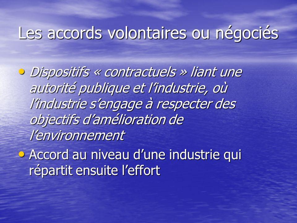 Les accords volontaires ou négociés