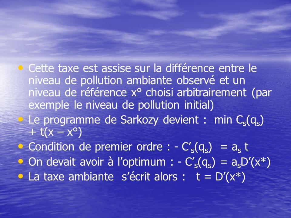 Cette taxe est assise sur la différence entre le niveau de pollution ambiante observé et un niveau de référence x° choisi arbitrairement (par exemple le niveau de pollution initial)