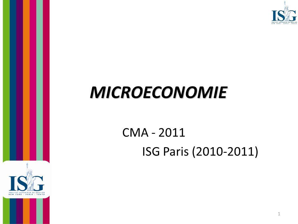 MICROECONOMIE CMA - 2011 ISG Paris (2010-2011)