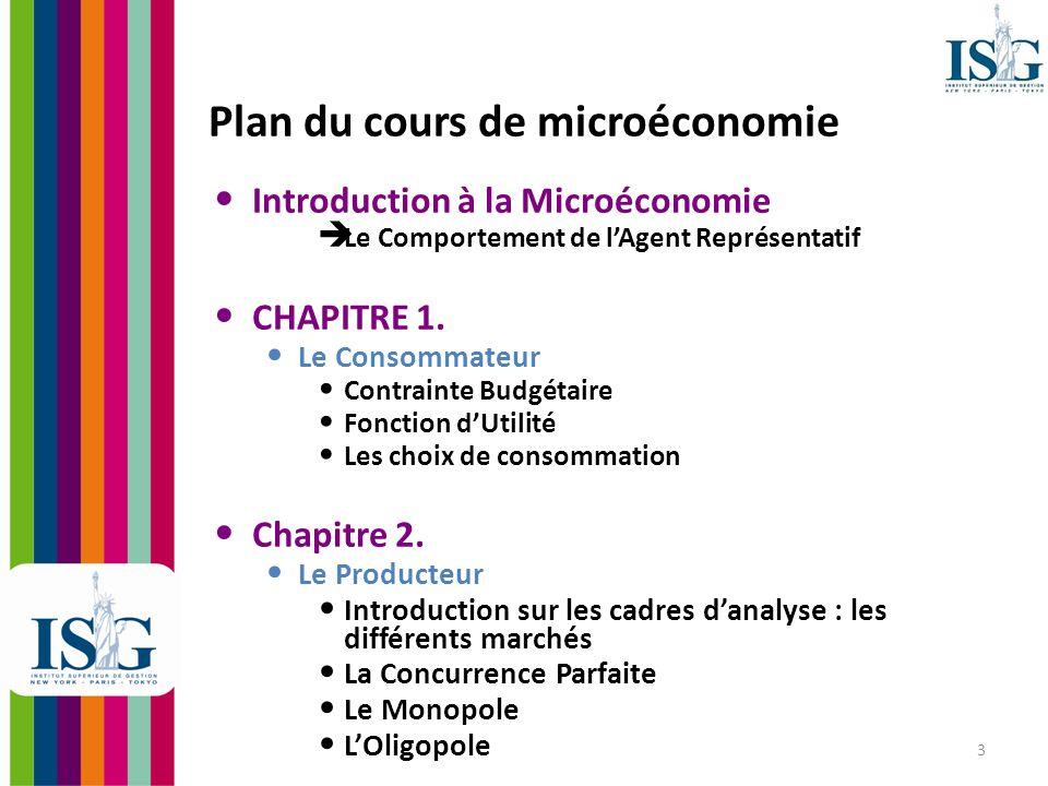 Plan du cours de microéconomie