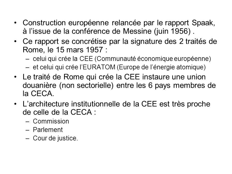Construction européenne relancée par le rapport Spaak, à l'issue de la conférence de Messine (juin 1956) .