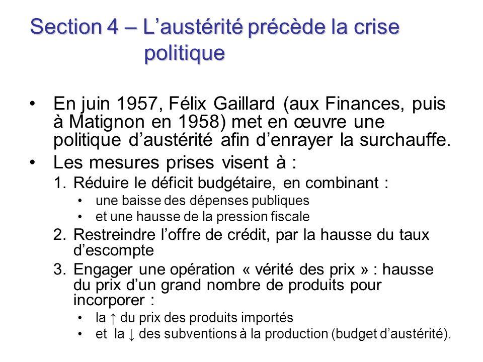 Section 4 – L'austérité précède la crise politique