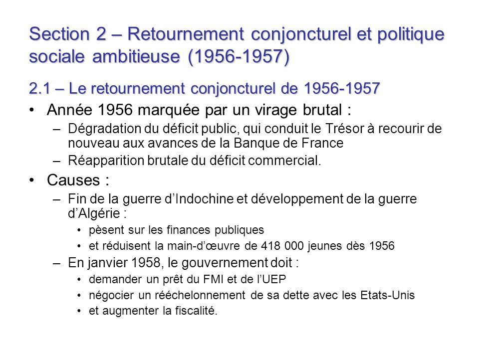 Section 2 – Retournement conjoncturel et politique sociale ambitieuse (1956-1957)