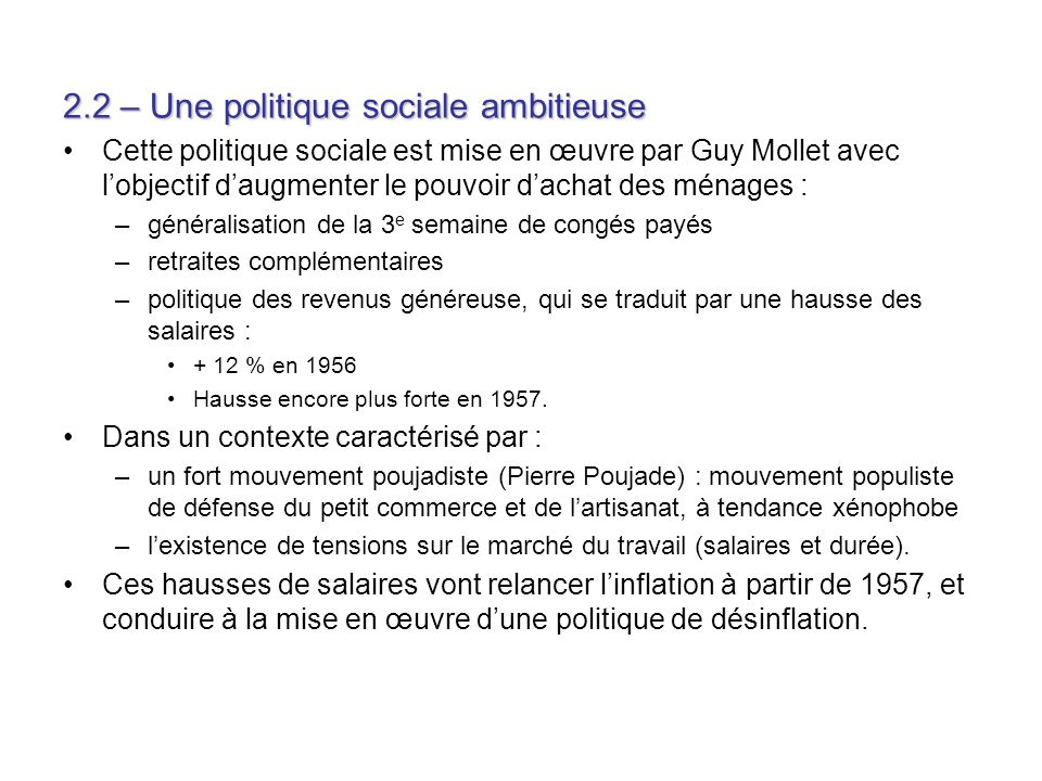 2.2 – Une politique sociale ambitieuse