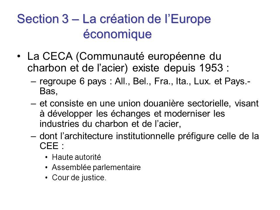 Section 3 – La création de l'Europe économique
