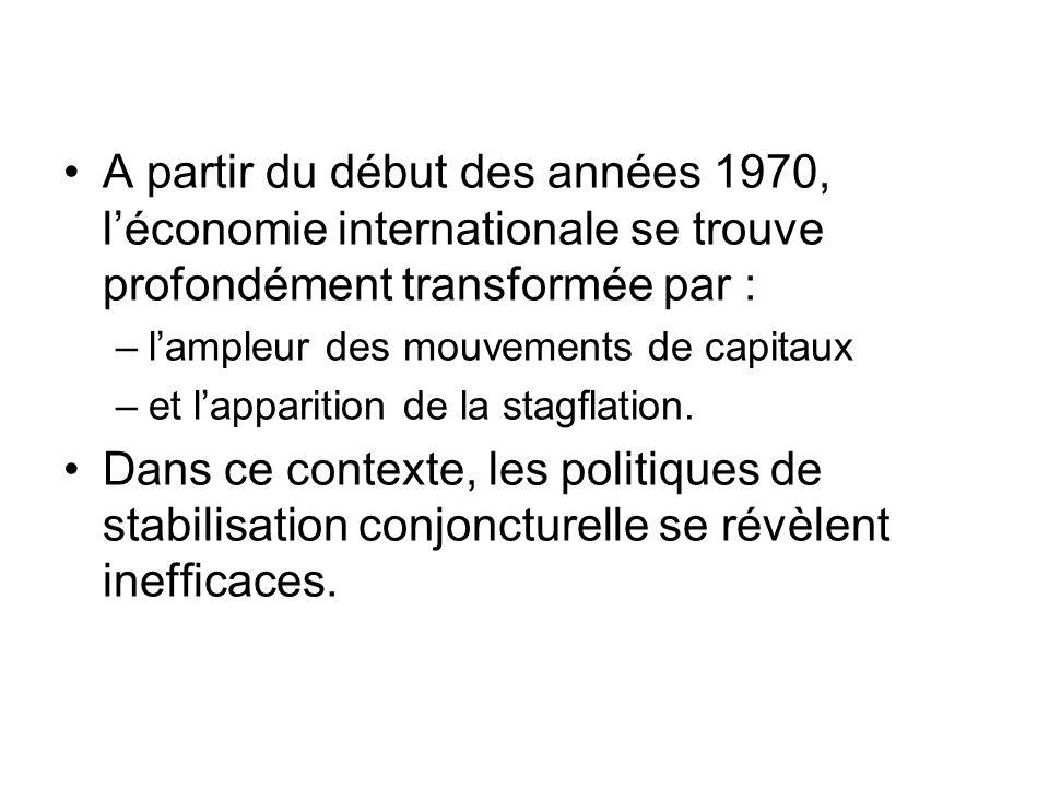A partir du début des années 1970, l'économie internationale se trouve profondément transformée par :