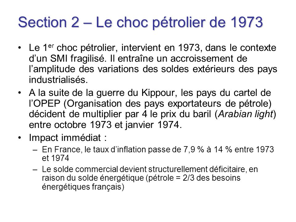 Section 2 – Le choc pétrolier de 1973