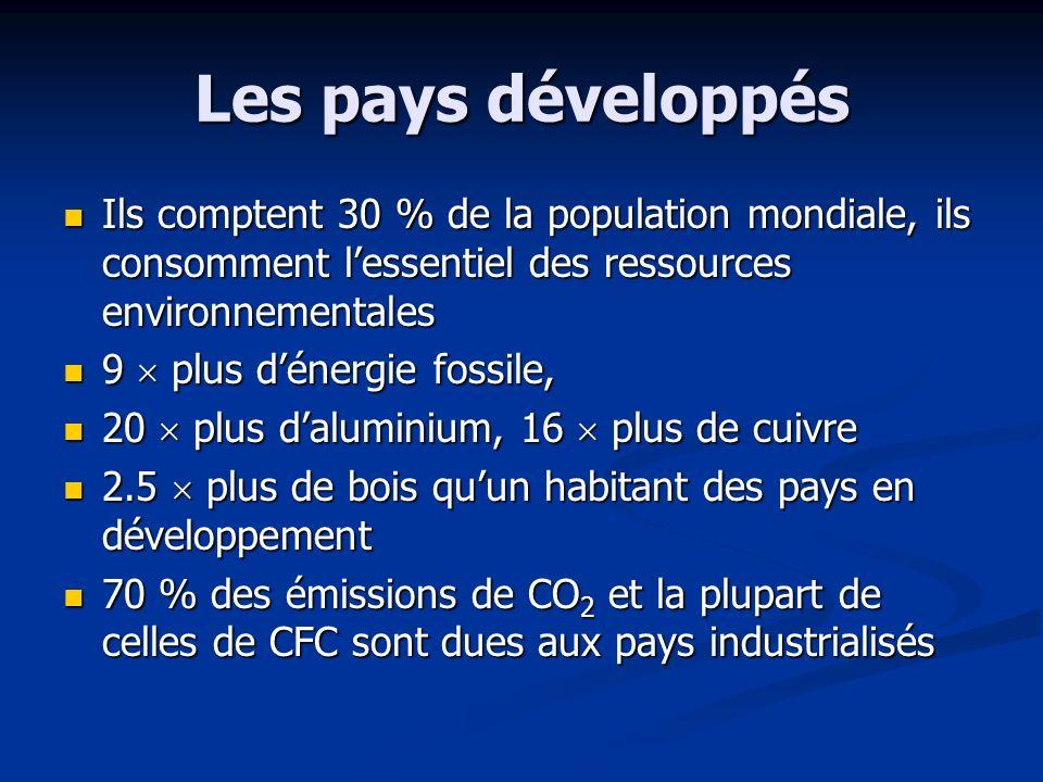 Les pays développés Ils comptent 30 % de la population mondiale, ils consomment l'essentiel des ressources environnementales.