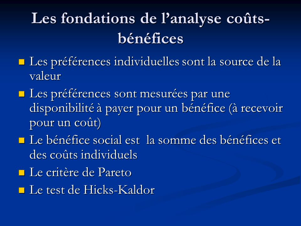 Les fondations de l'analyse coûts-bénéfices