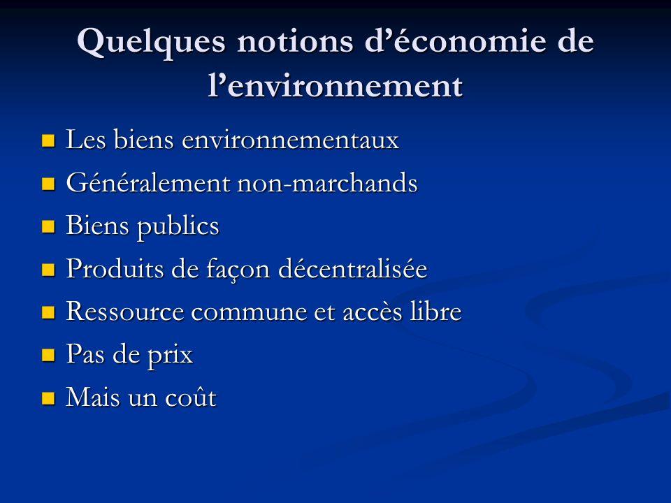 Quelques notions d'économie de l'environnement