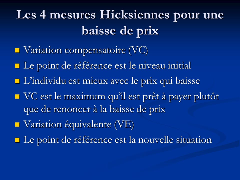 Les 4 mesures Hicksiennes pour une baisse de prix