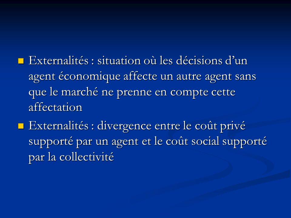 Externalités : situation où les décisions d'un agent économique affecte un autre agent sans que le marché ne prenne en compte cette affectation