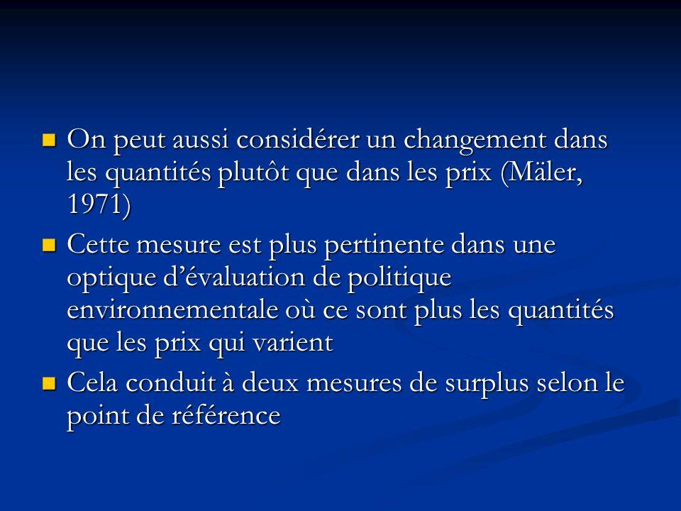 On peut aussi considérer un changement dans les quantités plutôt que dans les prix (Mäler, 1971)
