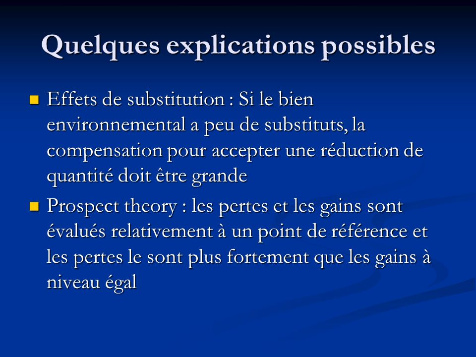 Quelques explications possibles