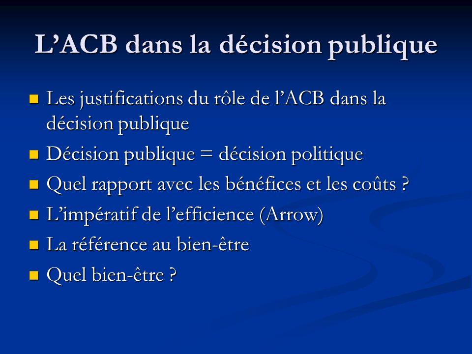L'ACB dans la décision publique