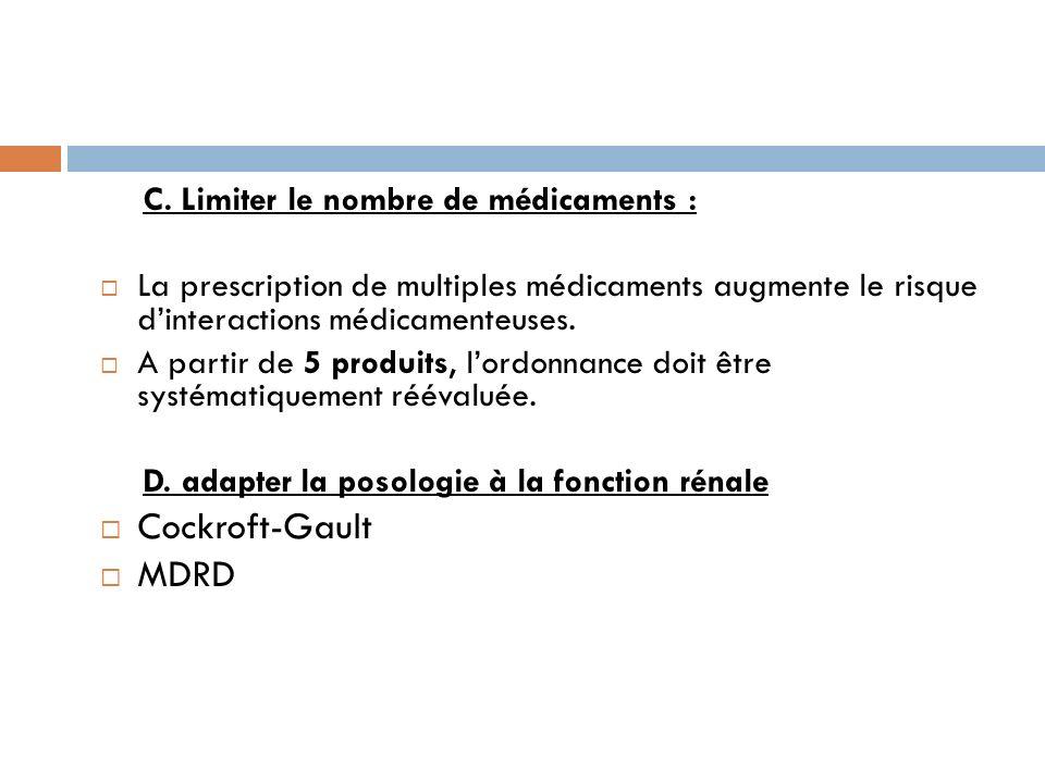 Cockroft-Gault MDRD C. Limiter le nombre de médicaments :