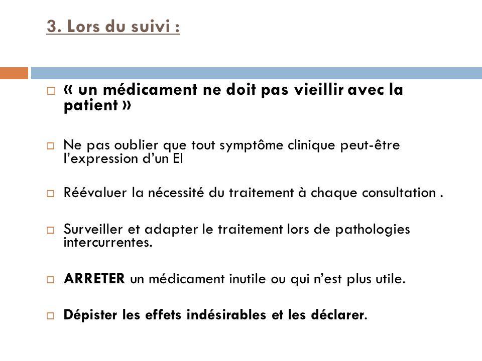 3. Lors du suivi : « un médicament ne doit pas vieillir avec la patient » Ne pas oublier que tout symptôme clinique peut-être l'expression d'un EI.