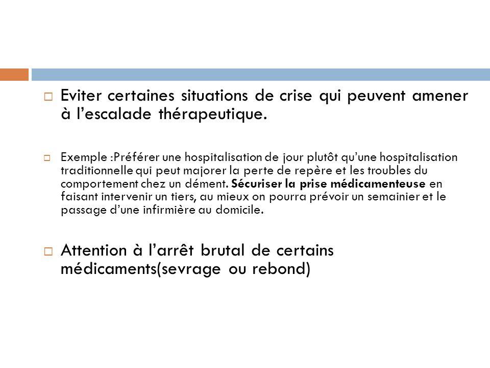 Attention à l'arrêt brutal de certains médicaments(sevrage ou rebond)