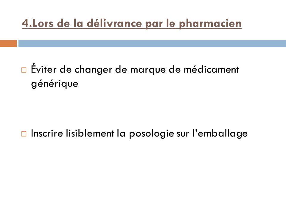 4.Lors de la délivrance par le pharmacien