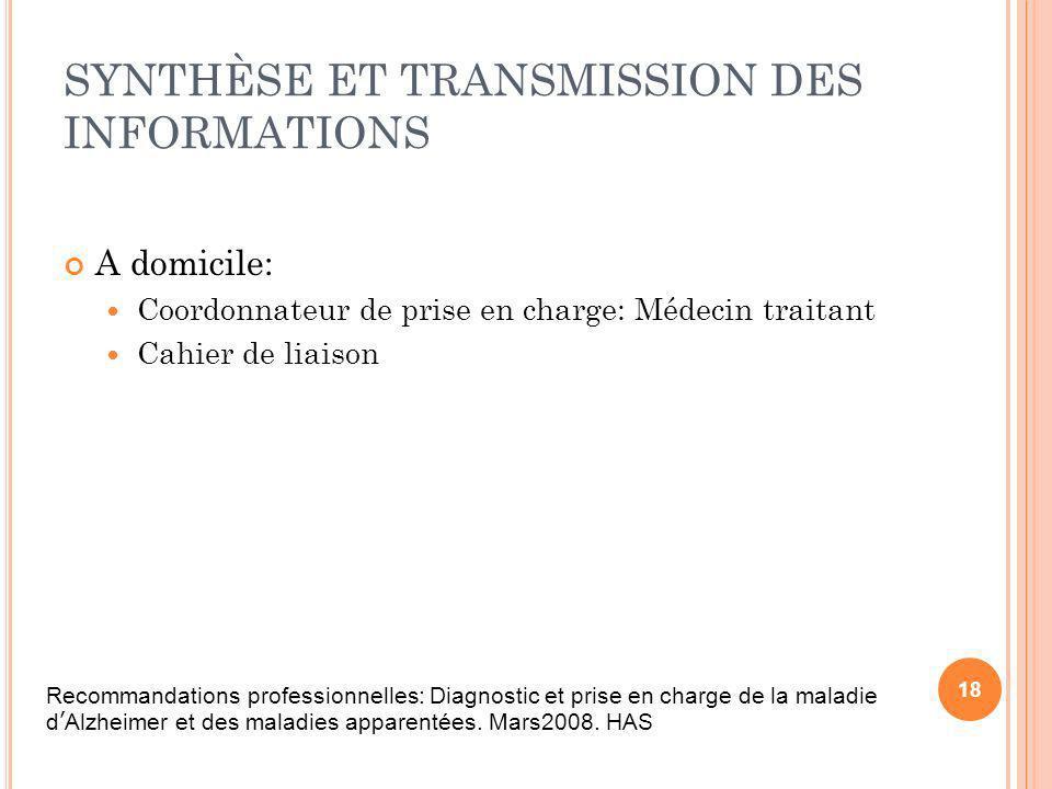 SYNTHÈSE ET TRANSMISSION DES INFORMATIONS