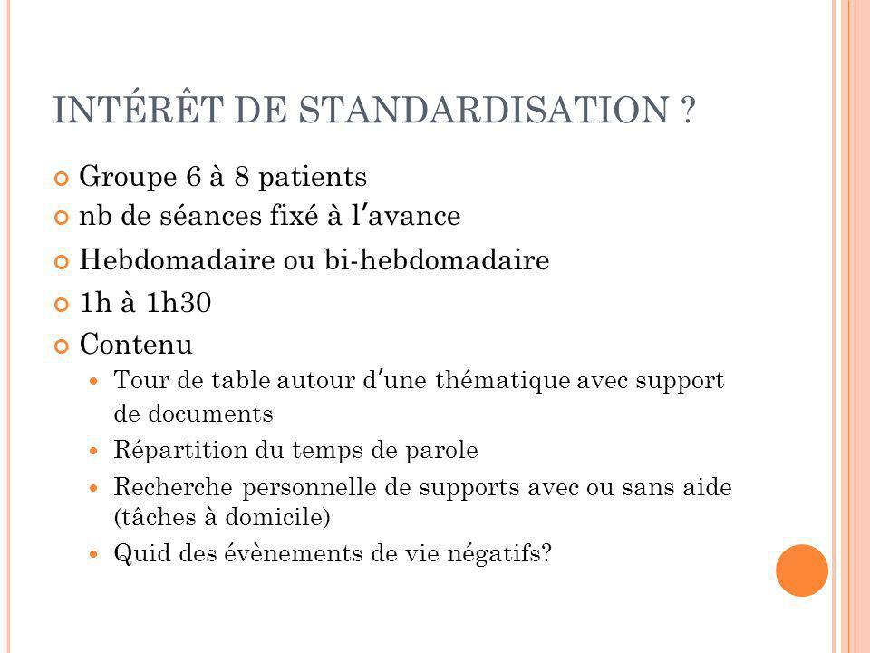 INTÉRÊT DE STANDARDISATION