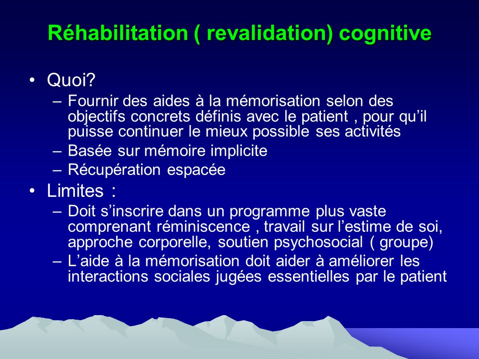 Réhabilitation ( revalidation) cognitive