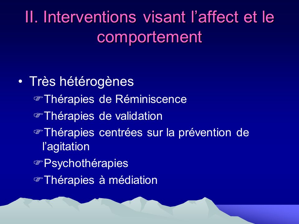 II. Interventions visant l'affect et le comportement