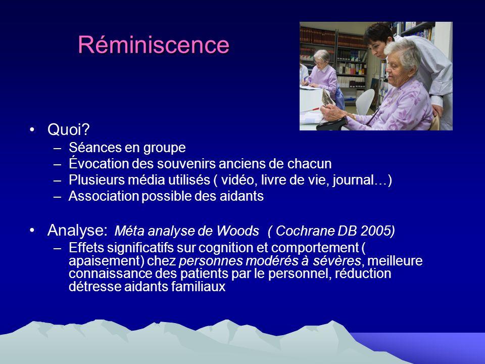 Réminiscence Quoi Analyse: Méta analyse de Woods ( Cochrane DB 2005)