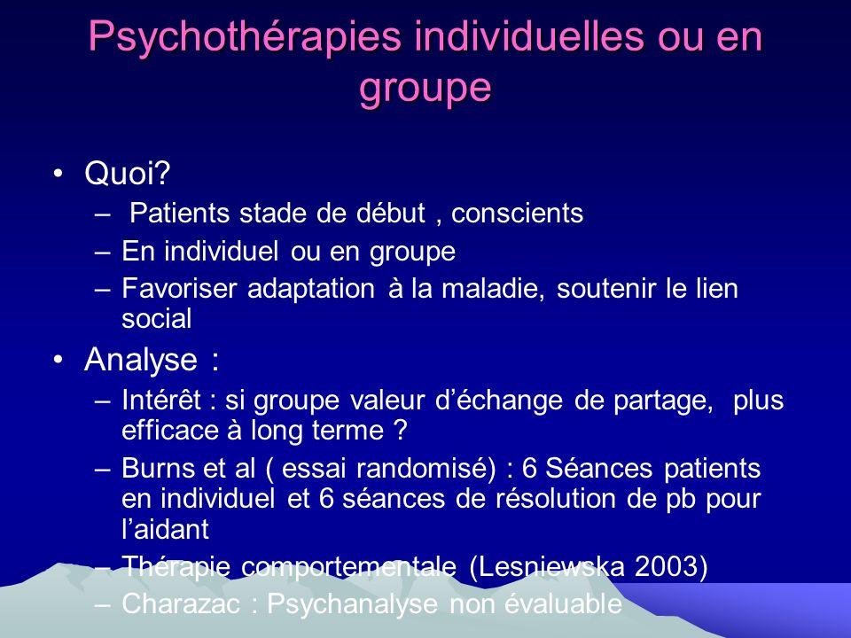 Psychothérapies individuelles ou en groupe