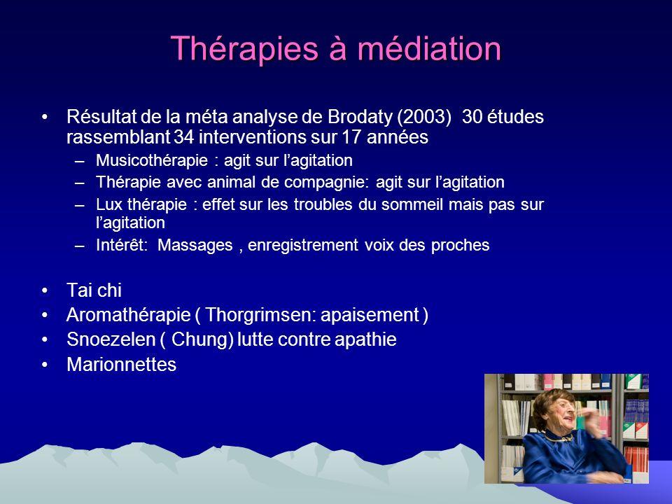 Thérapies à médiation Résultat de la méta analyse de Brodaty (2003) 30 études rassemblant 34 interventions sur 17 années.