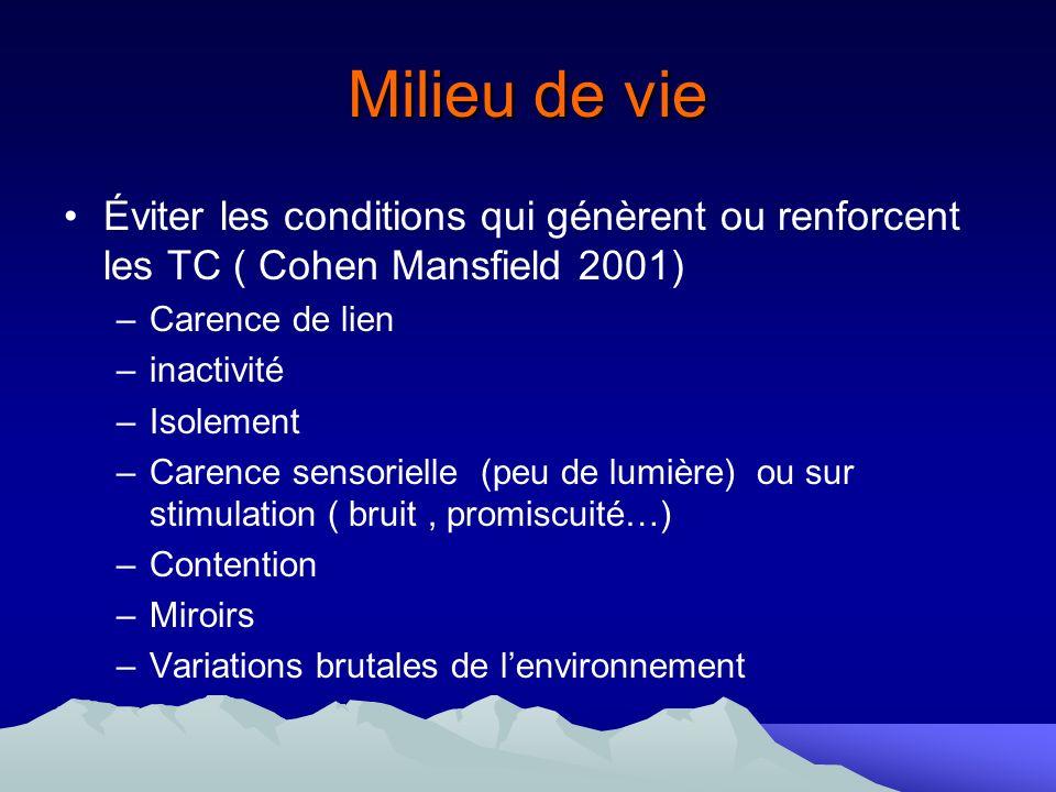 Milieu de vieÉviter les conditions qui génèrent ou renforcent les TC ( Cohen Mansfield 2001) Carence de lien.