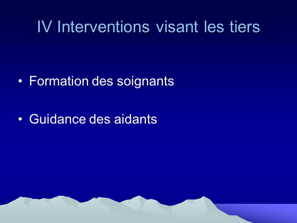 IV Interventions visant les tiers