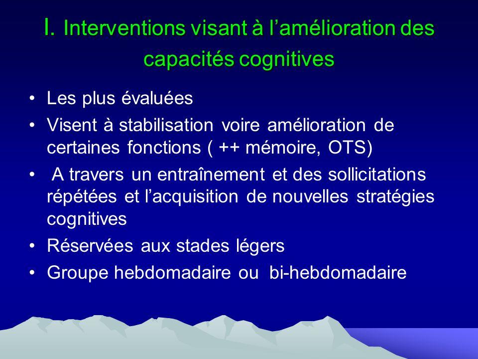 I. Interventions visant à l'amélioration des capacités cognitives