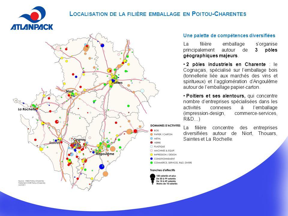 Localisation de la filière emballage en Poitou-Charentes