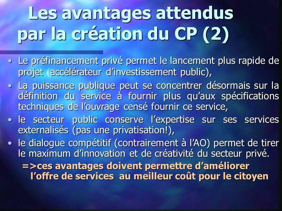 Les avantages attendus par la création du CP (2)