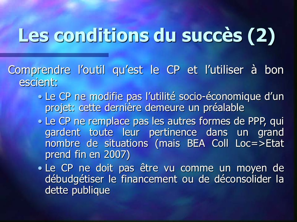 Les conditions du succès (2)