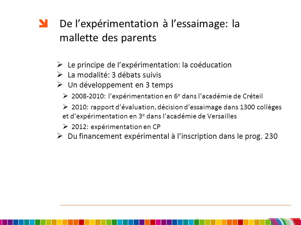 De l'expérimentation à l'essaimage: la mallette des parents