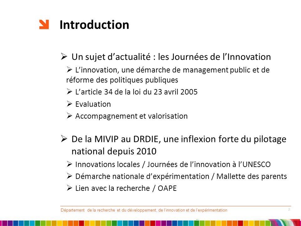 Introduction Un sujet d'actualité : les Journées de l'Innovation