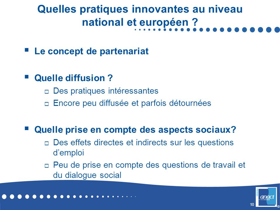 Quelles pratiques innovantes au niveau national et européen