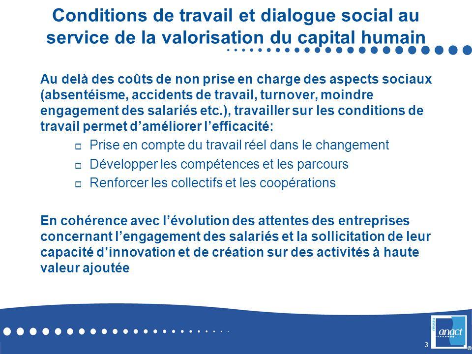 Conditions de travail et dialogue social au service de la valorisation du capital humain