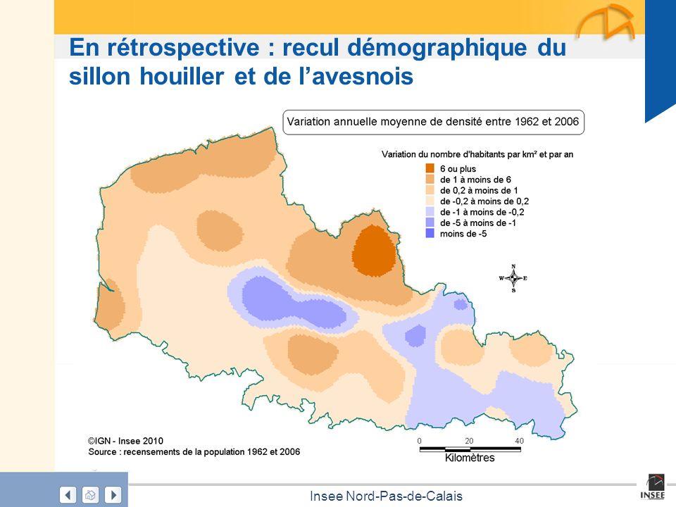 En rétrospective : recul démographique du sillon houiller et de l'avesnois