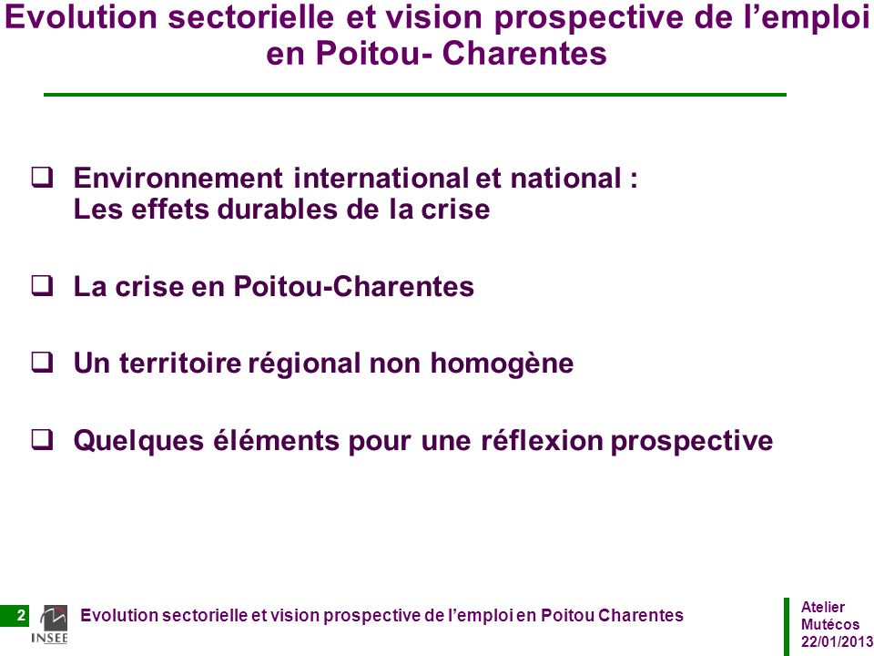 Evolution sectorielle et vision prospective de l'emploi en Poitou- Charentes