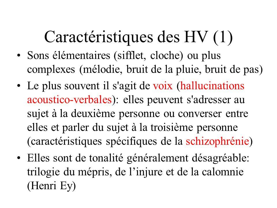 Caractéristiques des HV (1)