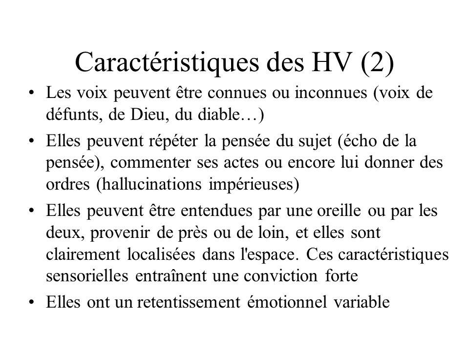 Caractéristiques des HV (2)