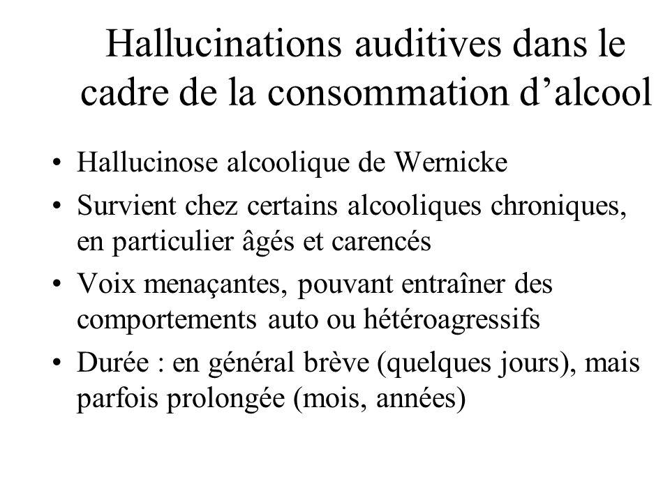 Hallucinations auditives dans le cadre de la consommation d'alcool