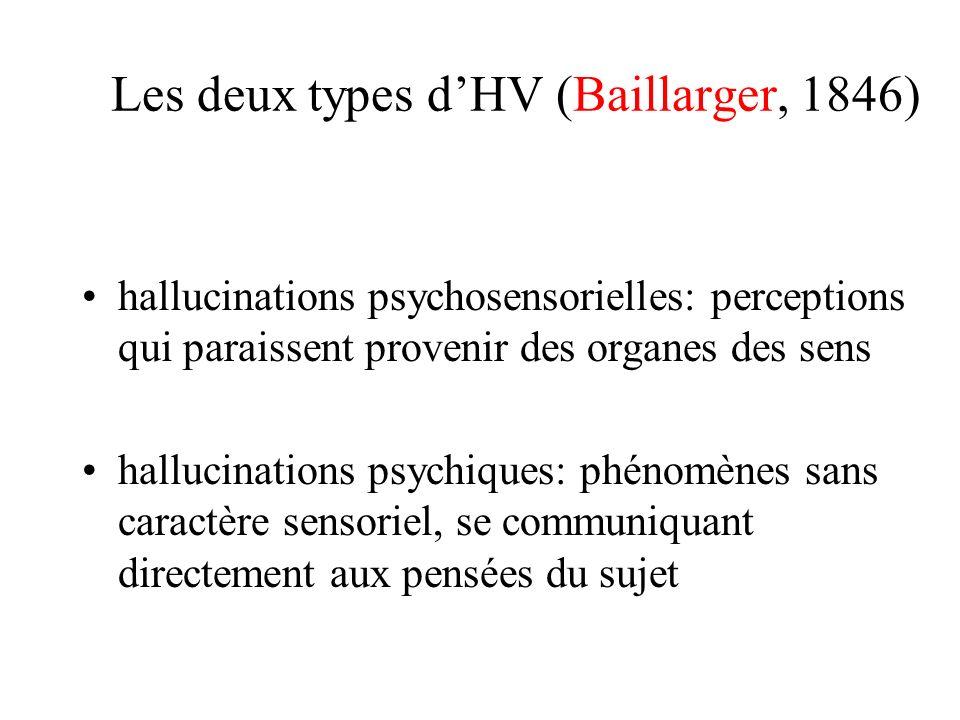 Les deux types d'HV (Baillarger, 1846)