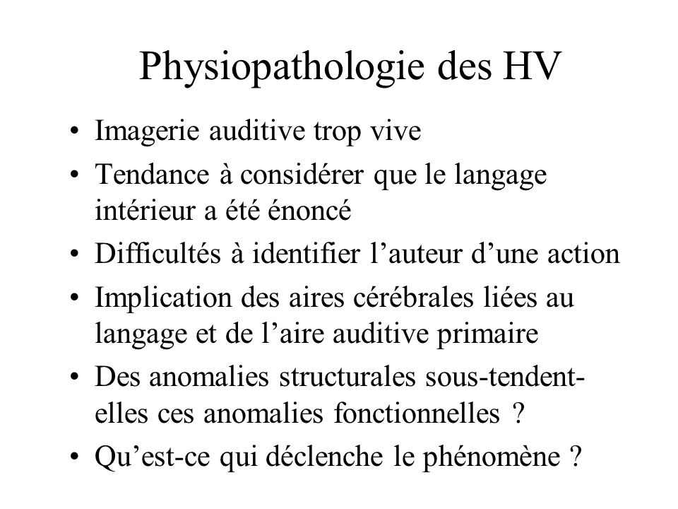 Physiopathologie des HV