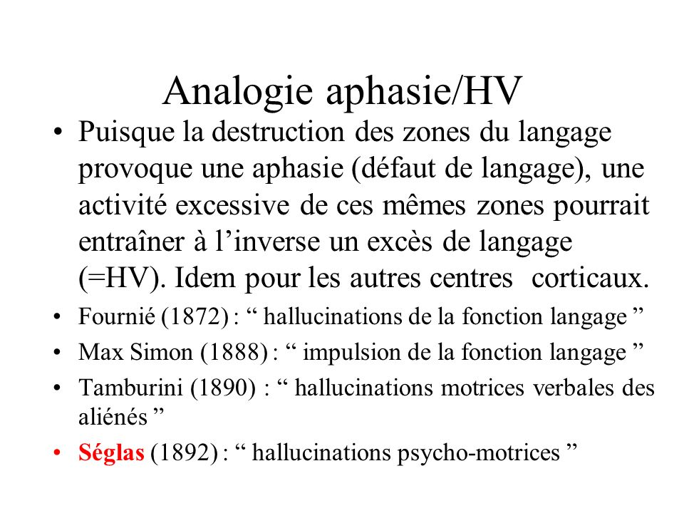 Analogie aphasie/HV