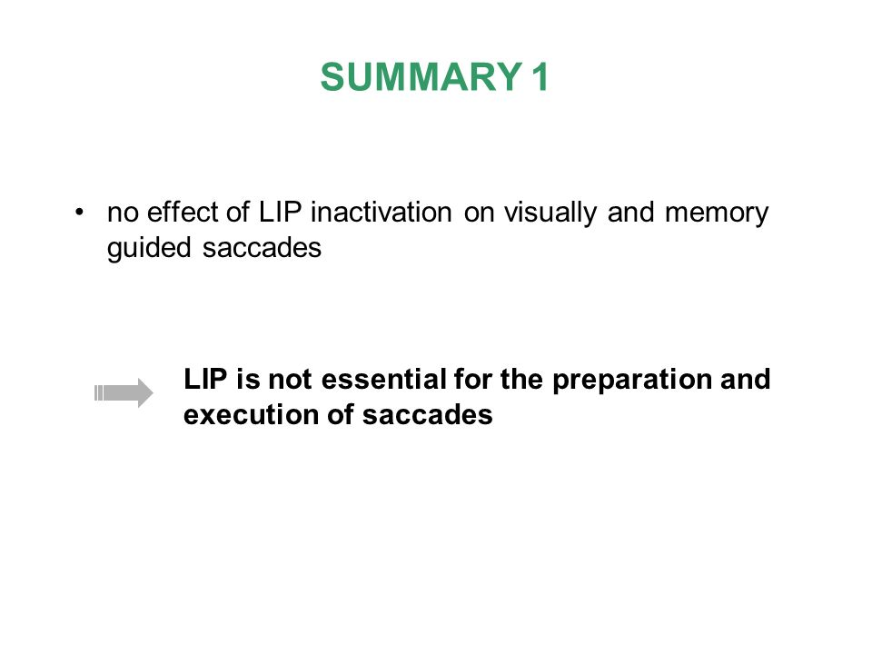 SUMMARY 1no effect of LIP inactivation on visually and memory guided saccades.